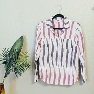 J.Crew Pink Long Sleeve Buttondown Tribal Top Sz 8